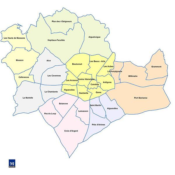 Carte Quartiers Montpellier